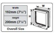 Ajtó külmérete 192mm x 200mm